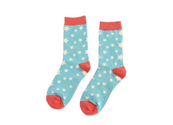 Sanau Sêr Teal ac Oren Miss Sparrow Teal and Orange Stars Socks