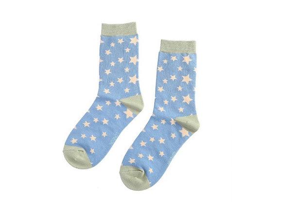 Sanau Sêr Glas Golau Miss Sparrow Light Blue Stars Socks