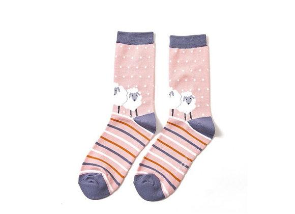 Sanau Pinc Defaid Miss Sparrow Dusky Pink Sheep Socks