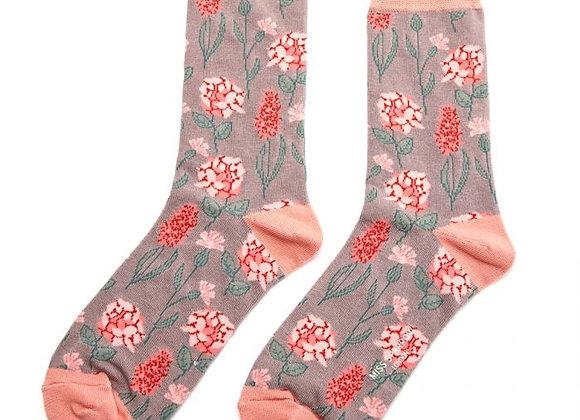 Sanau BlodeuogLlwyd Grey Floral Miss SparrowSocks