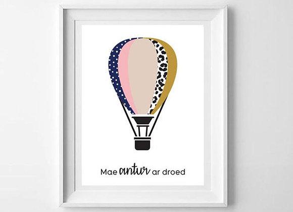 Print Balwn Pinc - Mae antur ar draed/ Pink Balloon - Adventure awaits