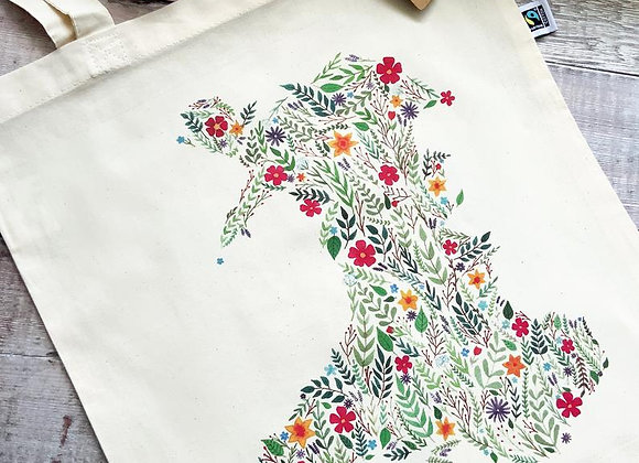 Bag Cotwm Map Blodeuog o Gymru/ Tote Bag Floral Map of Wales