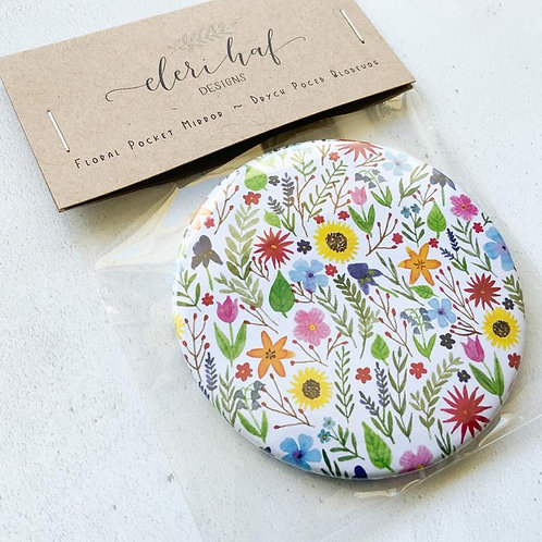 Drych Poced Blodeuog/ Illustrated Floral Pocket Mirror