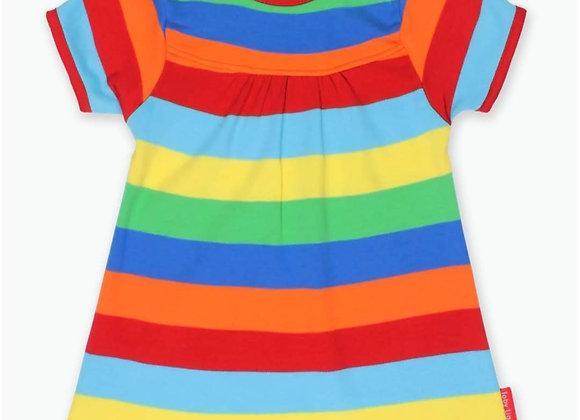 Ffrog Streipiog Lliwgar Toby Tiger Multi Colour Stripe Dress