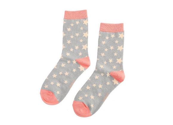 Sanau Sêr Llwyd a Coral Miss Sparrow Light Grey and Coral Socks
