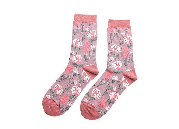 Sanau Blodeuog Lilac Miss Sparrow Botany Socks