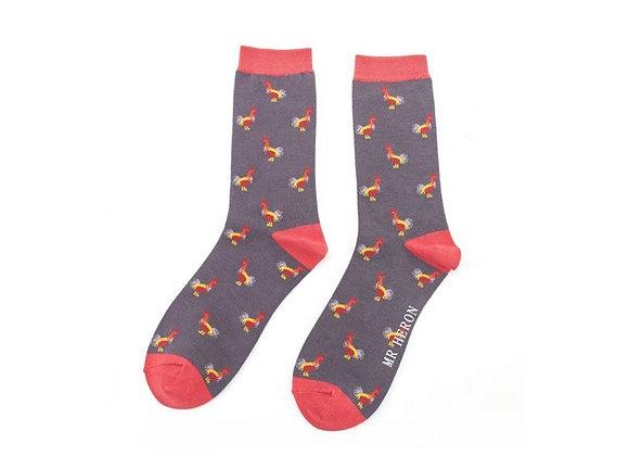 Sanau Ceiliogod Llwyd Tywyll Mr Heron Charcoal Roosters Socks