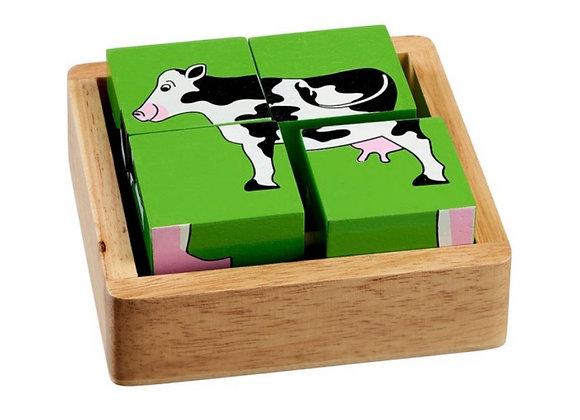 Pos blociau anifeiliaid fferm / Farm animals block puzzle