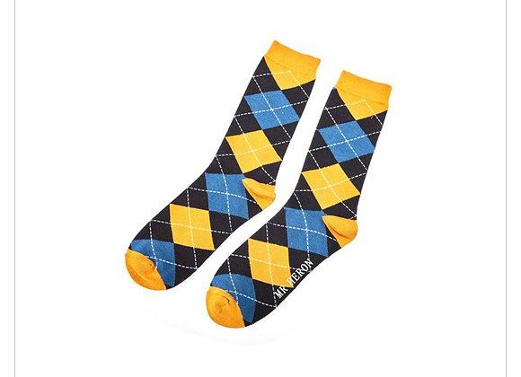 Sanau Mwsatrd a Glad Mr Heron Blue and Mustard Socks