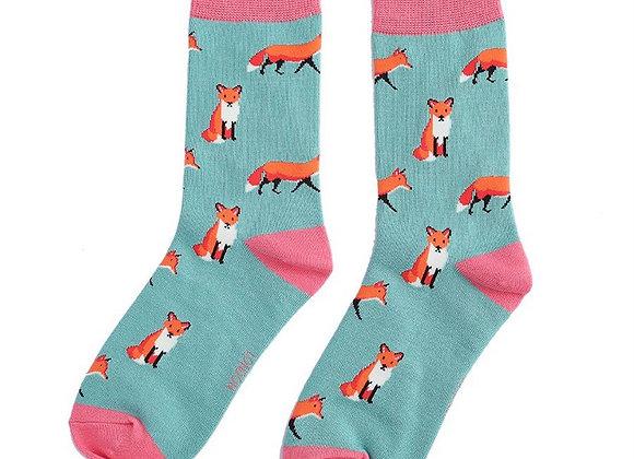 Sanau Llwynogod Gwyrdd Miss Sparrow Green Foxes Socks