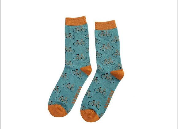 Sanau Beiciau Gwyrdd Mr Heron Green Bikes Socks