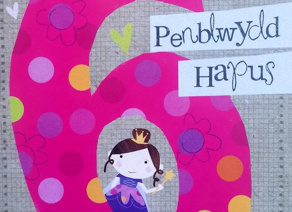 Penblwydd Hapus 6 Oed
