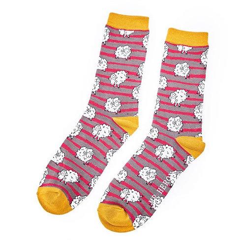Sanau Defaid Coch a Llwyd Mr Heron Red and Grey Sheep Socks