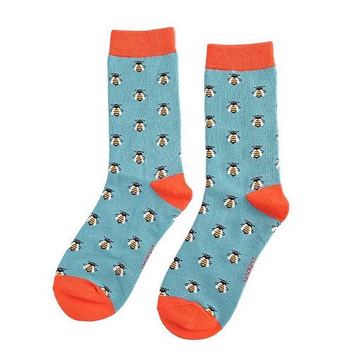 Sanau Gwenyn Dusky Teal Miss Sparrow Bee Socks