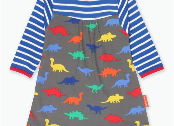 Ffrog Deinasor Lliwgar Toby Tiger Colorful Dinosaur Dress