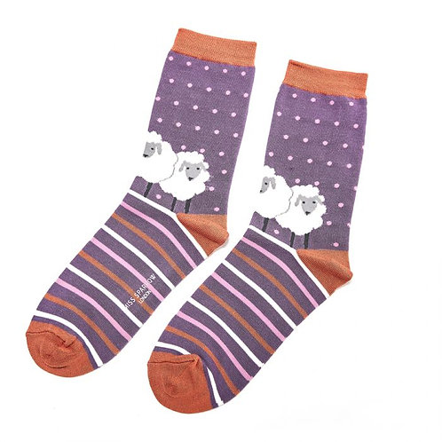 Sanau Defaid Porffod Purple SheepMiss SparrowSocks