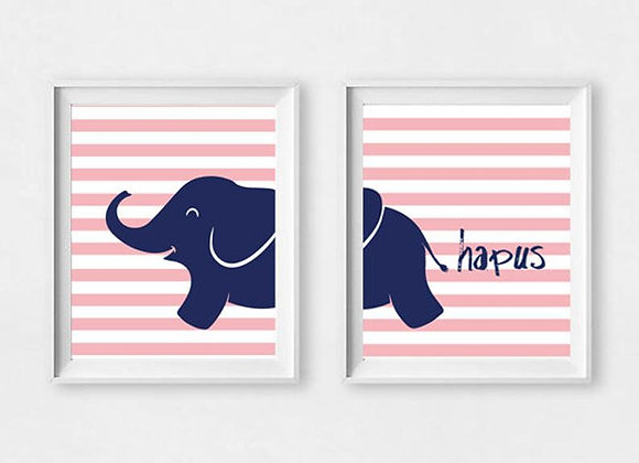 Print Eliffant Pinc Hapus/ Happy Pink Elephant