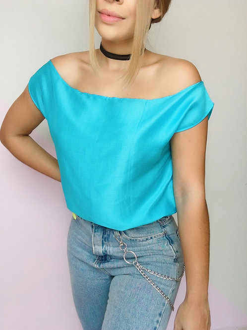Blusa Seda Azul