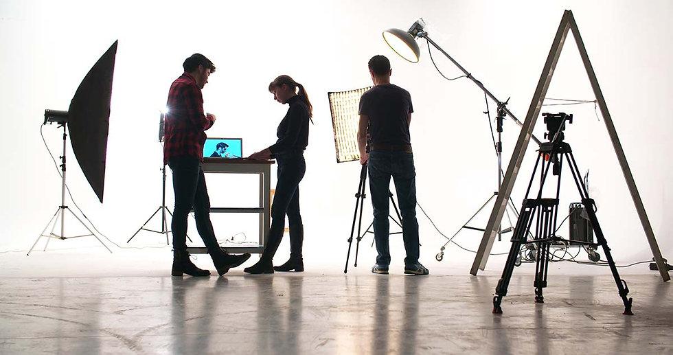 Actors preparing to film