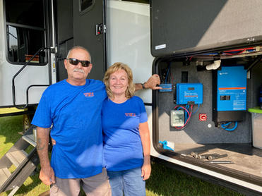 """""""We recently had a Standard Solar Package installed by Power Up RV Solar on our Alliance fifth wheel.  We were welcomed at their location in Michigan and instantly treated like a part of the family.  Our install only took a couple of days and we were able to stay in our RV during the entire process.   They truly live up to their slogan """"Meeting as clients,  leaving as friends"""". We now consider the entire Power Up RV Solar team as dear friends and we highly recommend them.  Contact the team when you are ready to GET POWERED UP!!""""  Thanks for the kind words J & S!  August 2021"""