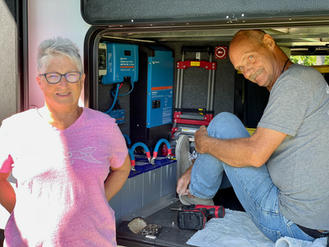 """""""Kim and Linc Spangler kindly hosted us and our rig while they upgraded our solar capabilities with their crew including Son Tyler and spectacular friends Sandy and Peter! We are currently headed out to Arizona  and haven't been """"plugged in"""" since we left! If you need Solar check them out! Power up RV Solar!""""  September 2021"""