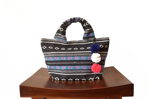 Ethnic Fabric Mini Tote Bag (Pink x Blue)