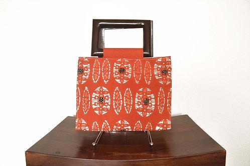 Red-Orange Kimono Obi Fabric Hand Bag