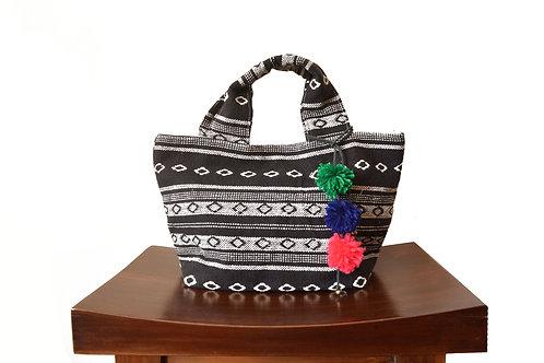 Ethnic Fabric Mini Tote Bag (Black x White)