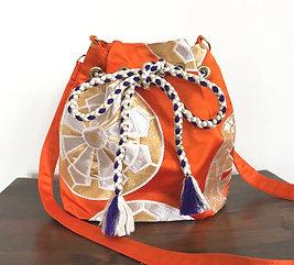 Orange x Circle Silk Kimono Obi Bucket Shoulder Bag