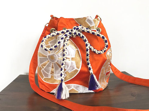 Orange x Circle Silk Kimono Obi Bucket Shoulder Bag