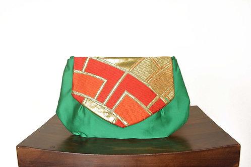 Green Kimono Obi Round Clutch Bag