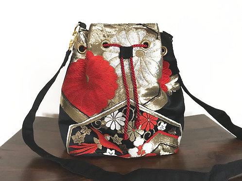 Black x Red Silk Kimono Obi Bucket Shoulder Bag