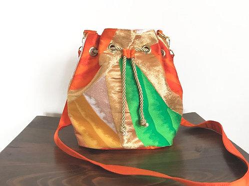 Five Colors Silk Kimono Obi Bucket Shoulder Bag