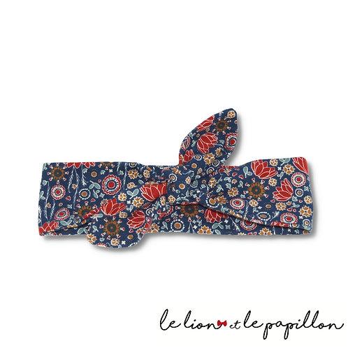 Bandeau velour bleu à fleurs