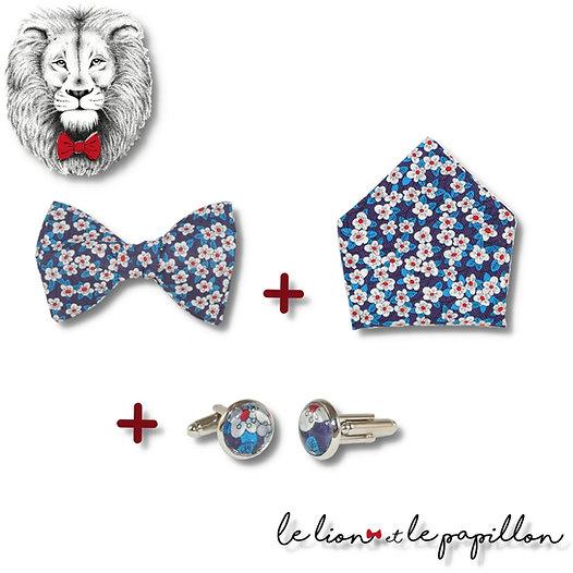 Pack Nœud papillon + Pochette & Boutons de manchette assortis
