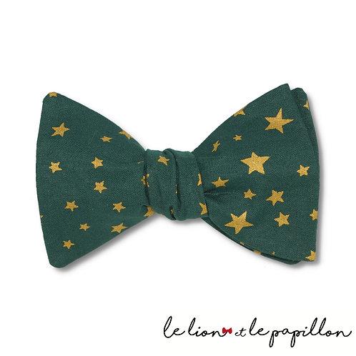 Noeud papillon Noel vert étoiles dorées