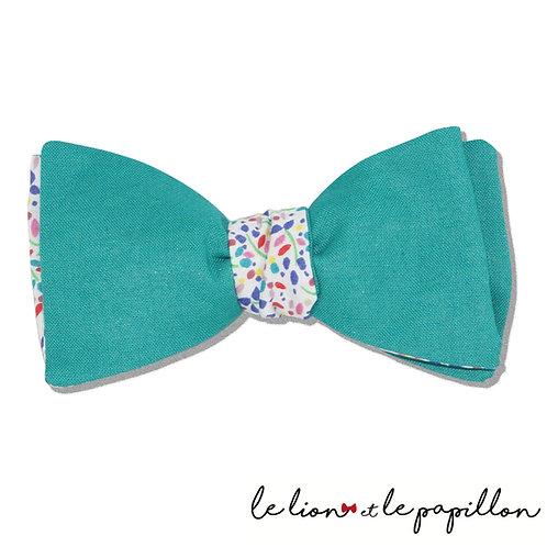 Noeud papillon bicolore bleu vert,Liberty Winter Blossom multicolore