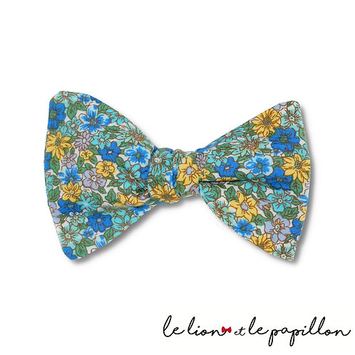 Nœud papillon Bleu à fleurs jaunes