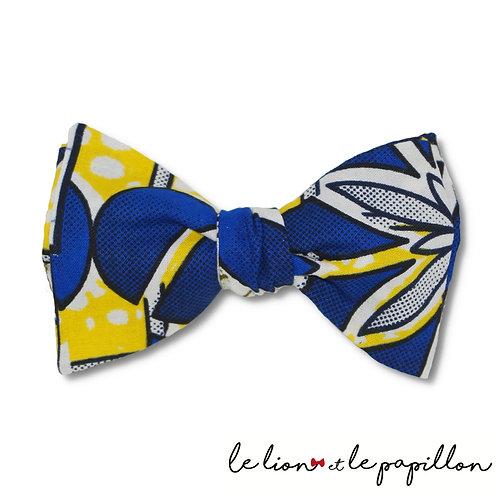 Noeud papillon wax bleu, jaune et blanc