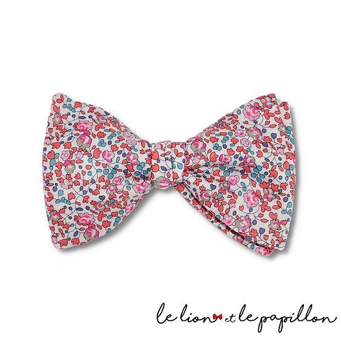 Noeud papillon Liberty Eloise rose corail et bleu