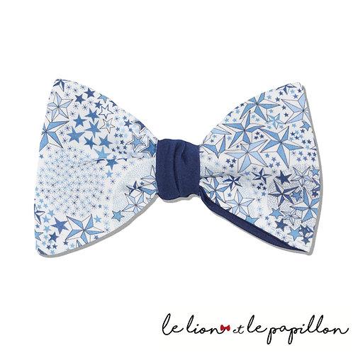 Noeud papillon bicolore Liberty Adeladja bleu forme classique