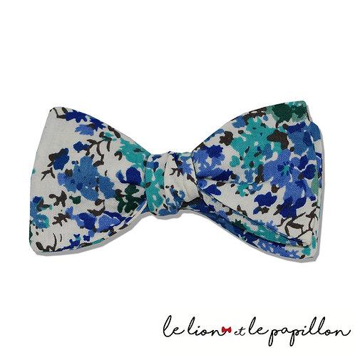 Nœud papillon fleurs bleu et vert