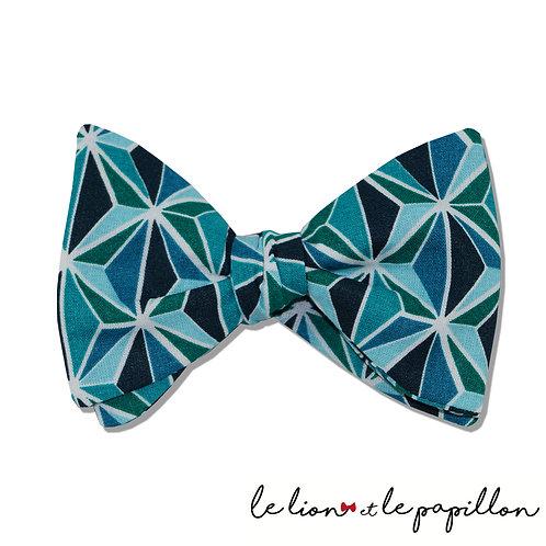 Nœud papillon formes géométrique bleu et vert canard