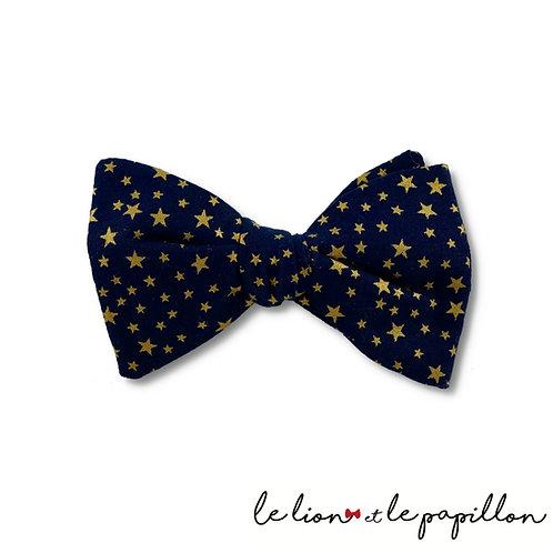 Noeud papillon Noel bleu étoiles dorées