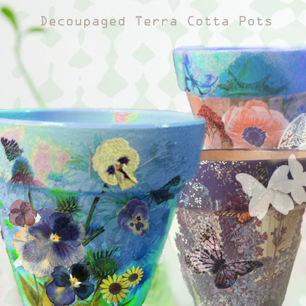 decoupaged terra cotta pots