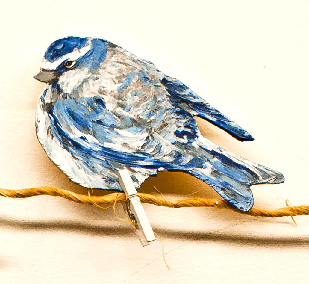 Bird with Soft blues and creams