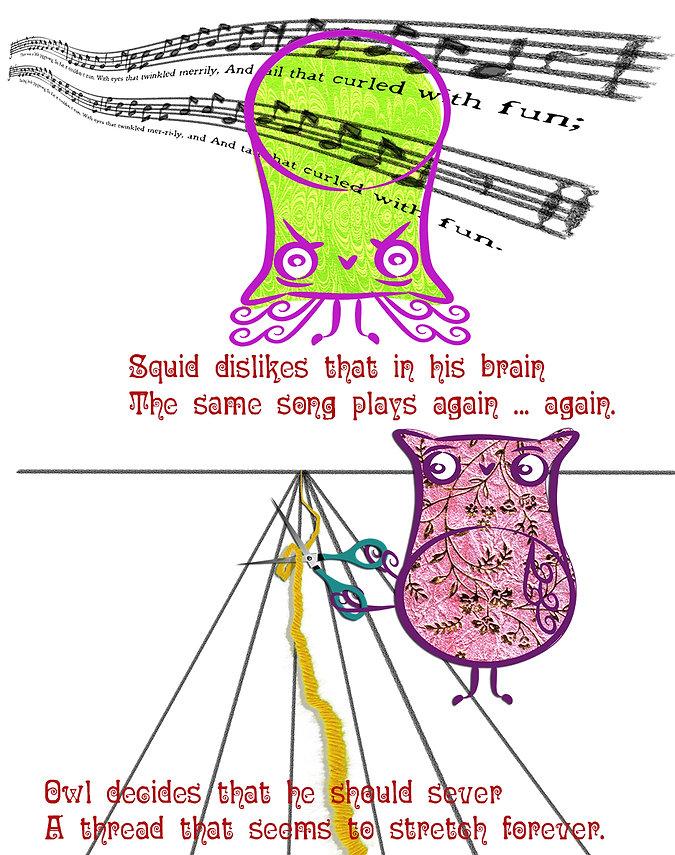 Squid earworm, Owl yarn snip.