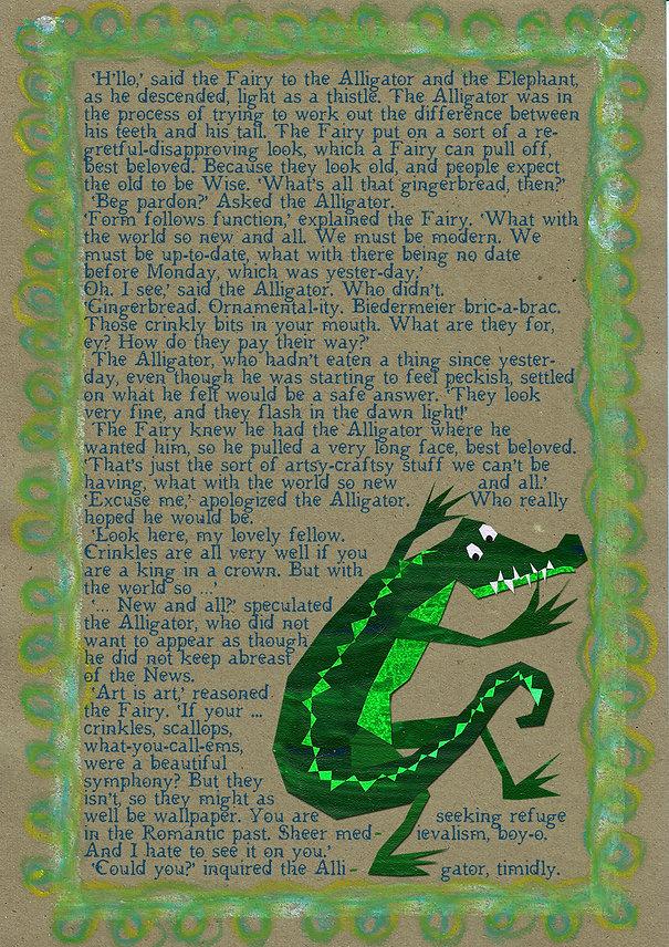 artsy-craftsy alligator.