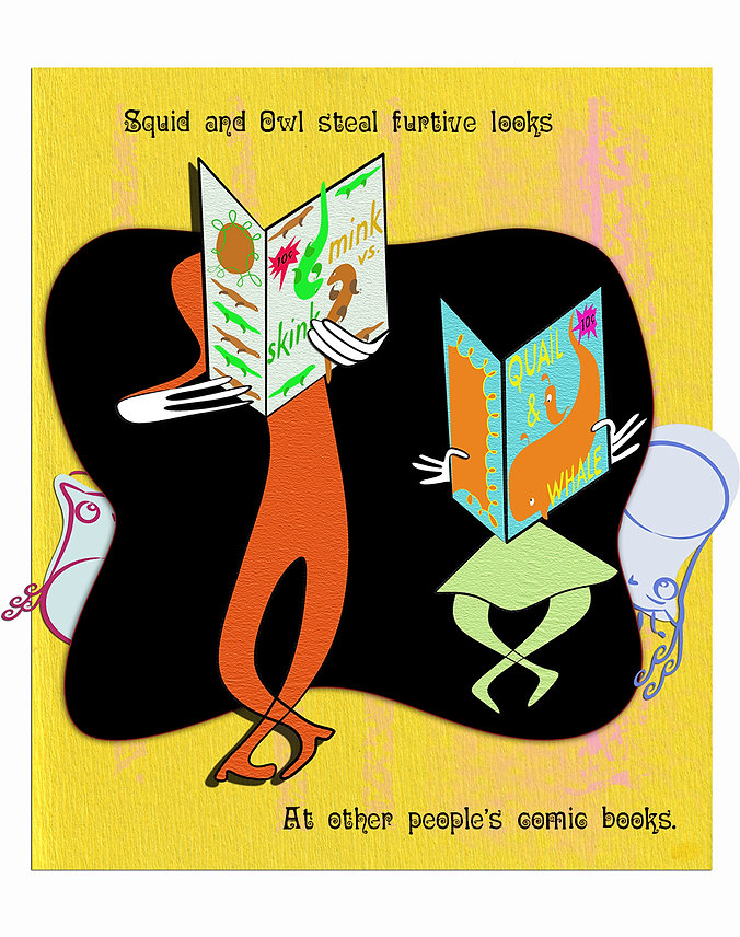 Squid and Owl steal furtive looks at other people's comic books.