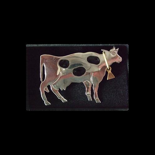 Silver & Black Cow Brooch
